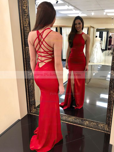 Sheath/Column Scoop Neck Floor-length Jersey Split Front Prom Dresses #PDS020106266