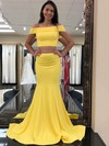 Trumpet/Mermaid Off-the-shoulder Sweep Train Jersey Prom Dresses #PDS020106267