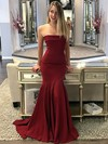 Trumpet/Mermaid Strapless Sweep Train Jersey Prom Dresses #PDS020106268