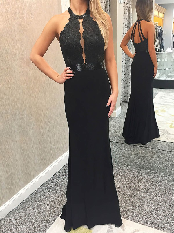 Sheath/Column Scoop Neck Floor-length Jersey Appliques Lace Prom Dresses #PDS020106270