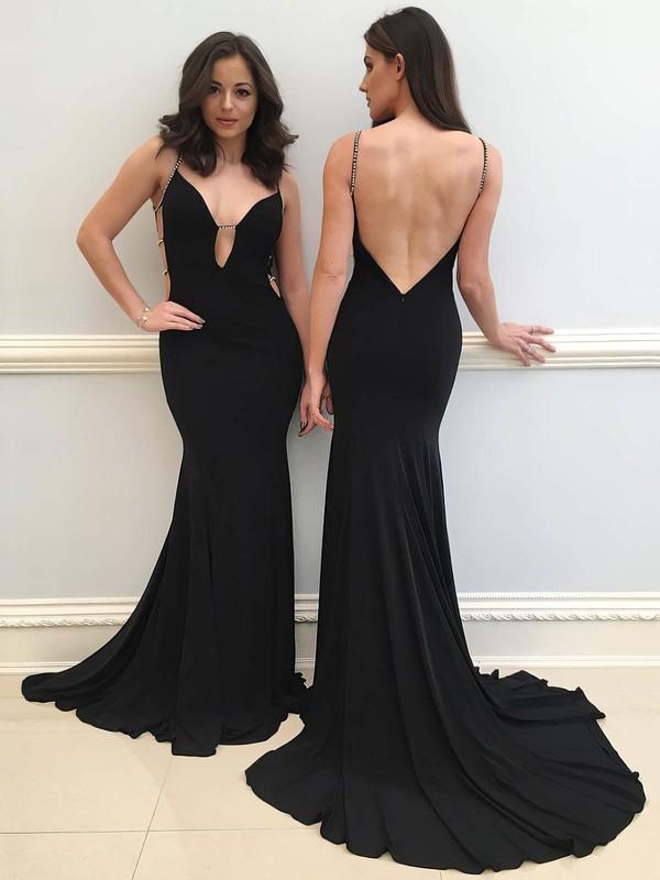 Trumpet/Mermaid V-neck Sweep Train Jersey Beading Prom Dresses #PDS020106271