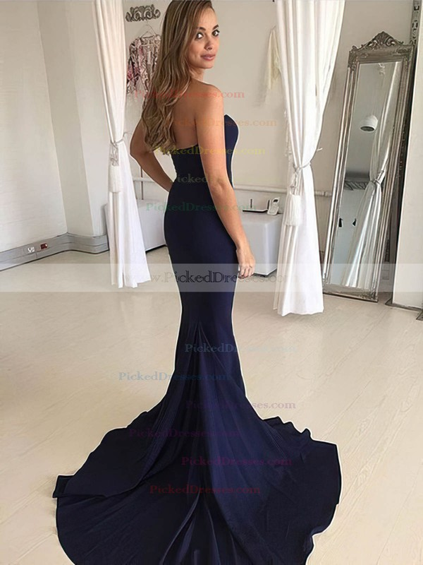 Trumpet/Mermaid Sweetheart Sweep Train Jersey Prom Dresses #PDS020106277