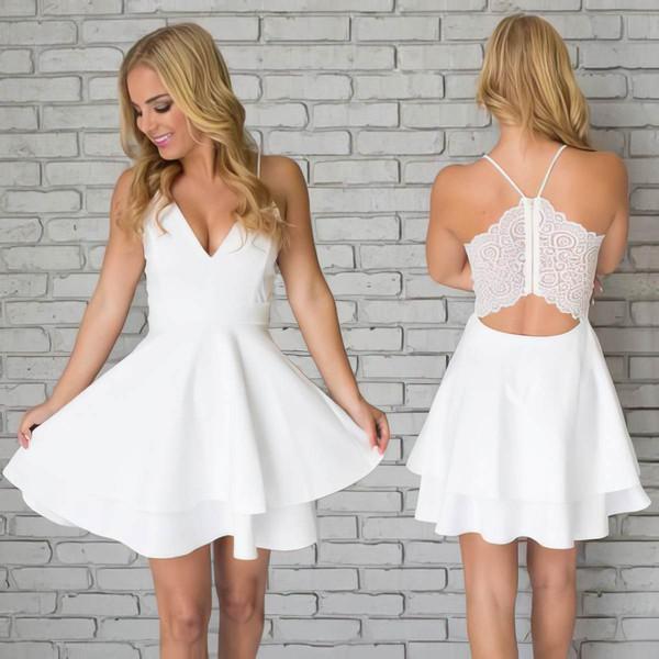 A-line V-neck Short/Mini Chiffon Lace Prom Dresses #PDS020106280
