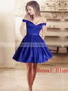 Ball Gown Off-the-shoulder Short/Mini Satin Beading Prom Dresses #PDS020106281