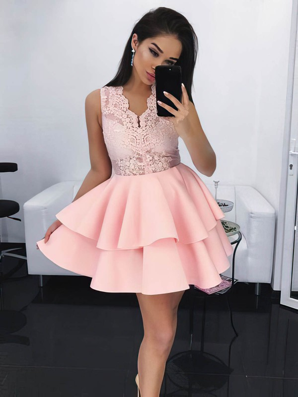 Ball Gown V-neck Short/Mini Lace Satin Lace Prom Dresses #PDS020106284