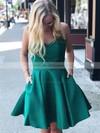 A-line V-neck Short/Mini Satin Bow Prom Dresses #PDS020106285