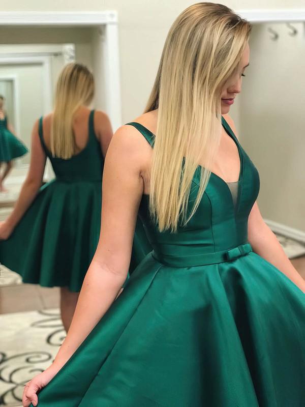 A-line V-neck Short/Mini Satin Bow Prom Dresses #PDS020106286