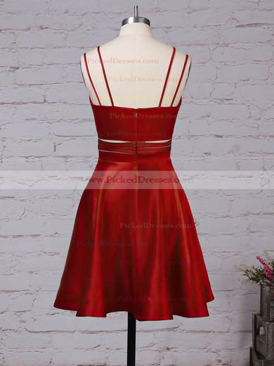 A-line V-neck Short/Mini Satin Pockets Prom Dresses #PDS020106288