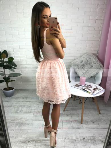 A-line V-neck Short/Mini Lace Lace Prom Dresses #PDS020106289