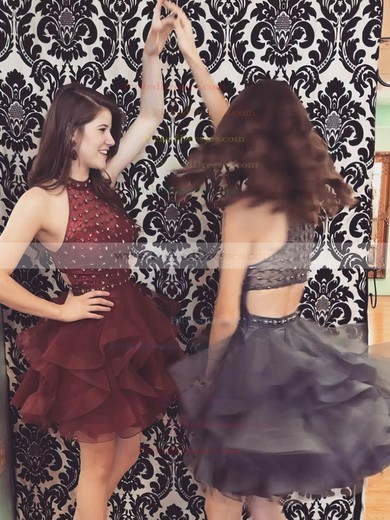 Ball Gown High Neck Short/Mini Organza Tulle Beading Prom Dresses #PDS020106290