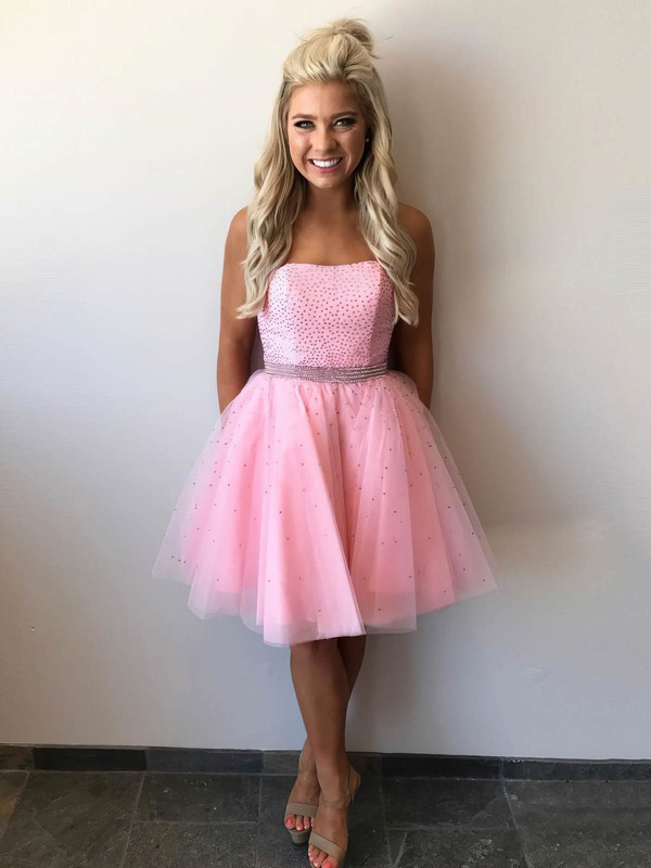A-line Strapless Short/Mini Tulle Beading Prom Dresses #PDS020106291