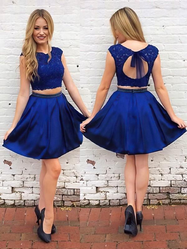 A-line Scoop Neck Short/Mini Satin Beading Prom Dresses #PDS020106294