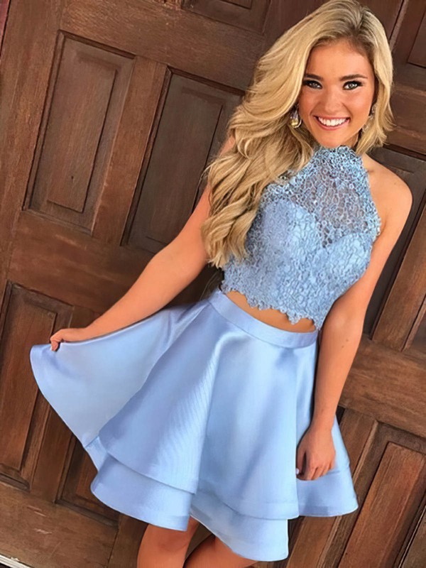 Princess High Neck Short/Mini Lace Satin Tiered Prom Dresses #PDS020106295