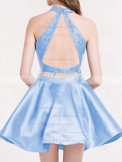 Princess High Neck Short/Mini Lace Satin Tiered Prom Dresses #PDS020106295