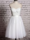 White Lace Tulle Sashes/Ribbons Sweetheart Casual Knee-length Wedding Dress #PDS00020533