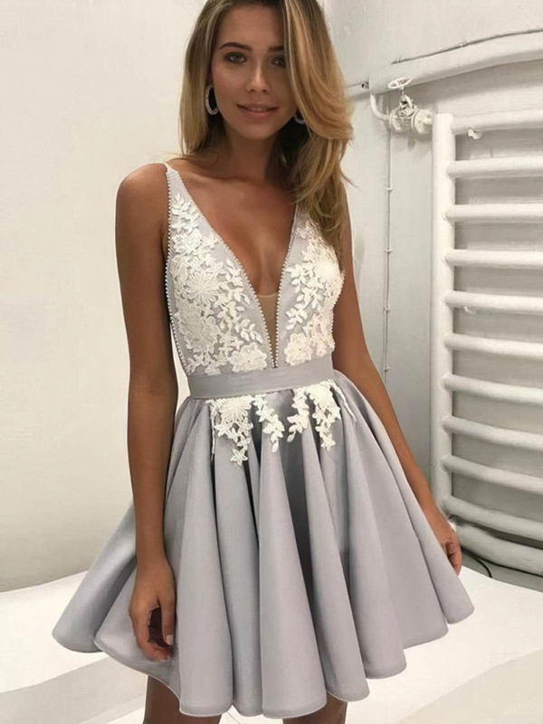 A-line V-neck Short/Mini Satin Lace Prom Dresses #PDS020106298