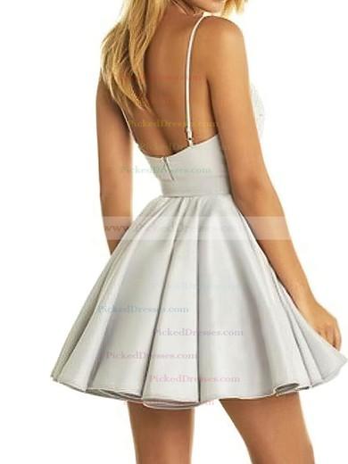 A-line V-neck Short/Mini Satin Lace Prom Dresses #PDS020106298