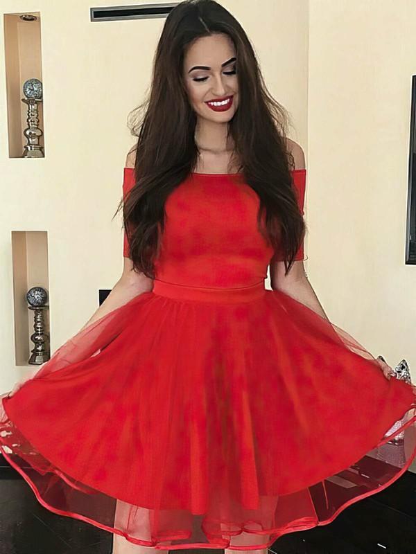 A-line Off-the-shoulder Knee-length Tulle Prom Dresses #PDS020106299