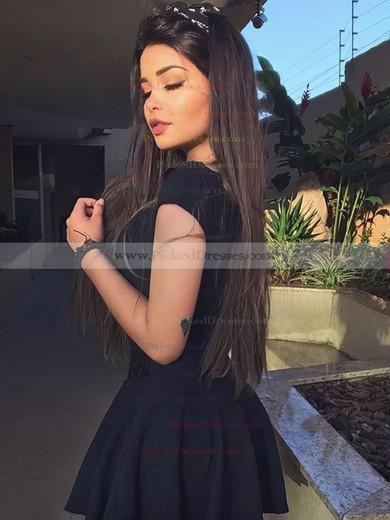 A-line V-neck Short/Mini Satin Appliques Lace Prom Dresses #PDS020106300