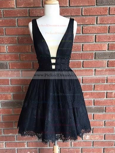 A-line V-neck Short/Mini Lace Sequins Prom Dresses #PDS020106301