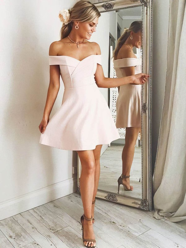 A-line Off-the-shoulder Short/Mini Satin Prom Dresses #PDS020106305