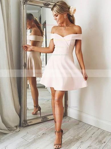 A-line Off-the-shoulder Short/Mini Satin Prom Dresses #PDS020106305