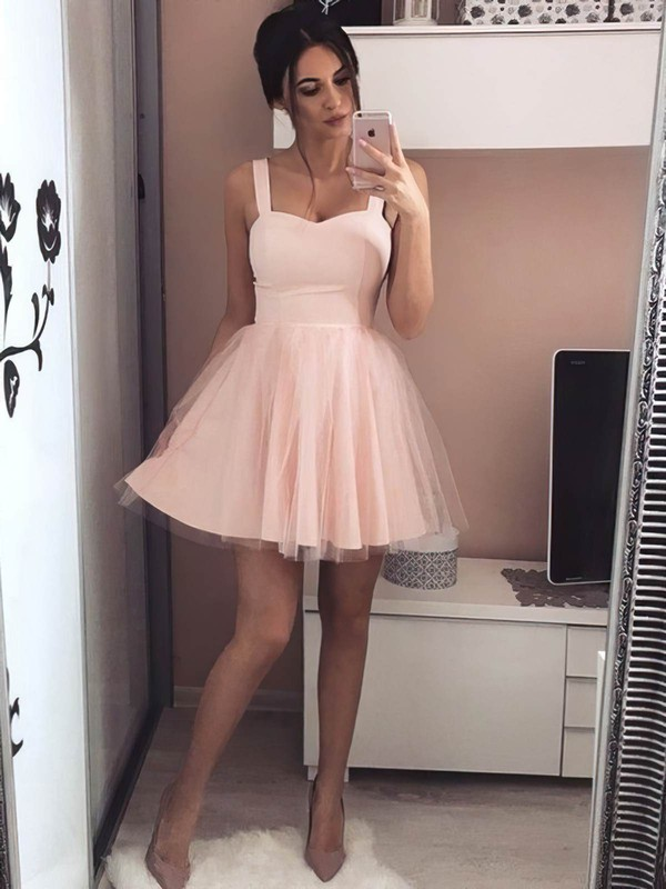 A-line Sweetheart Short/Mini Tulle Prom Dresses #PDS020106308