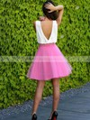 A-line V-neck Short/Mini Organza Prom Dresses #PDS020106310