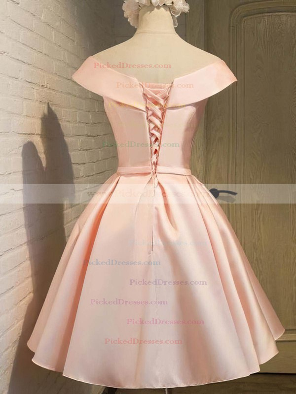 Princess V-neck Knee-length Satin Bow Prom Dresses #PDS020106311