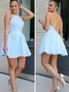 A-line Halter Short/Mini Chiffon Lace Prom Dresses #PDS020106312