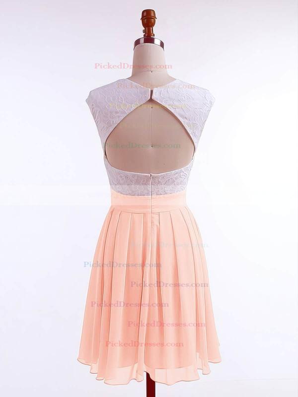 A-line Scoop Neck Short/Mini Chiffon Lace Prom Dresses #PDS020106313