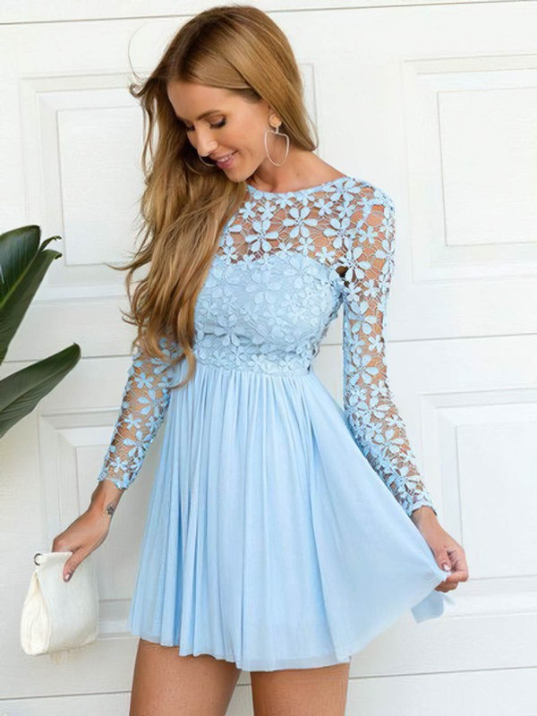 A-line Scoop Neck Short/Mini Lace Chiffon Lace Prom Dresses #PDS020106314