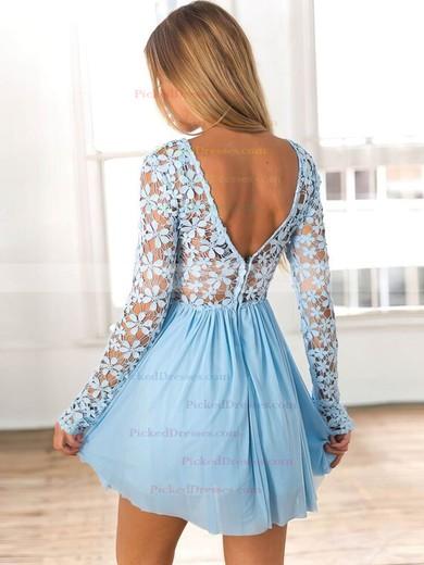 A-line Scoop Neck Short/Mini Lace Chiffon Lace Prom Dresses #PDS020106314