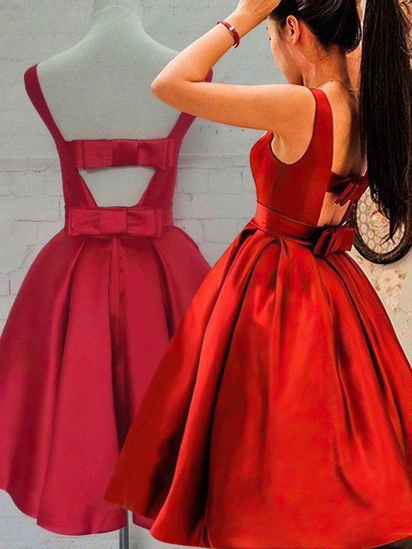 Princess Scoop Neck Knee-length Satin Bow Prom Dresses #PDS020106315