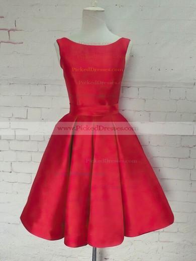 Princess Scoop Neck Knee-length Satin Bow Prom Dresses #PDS020106315
