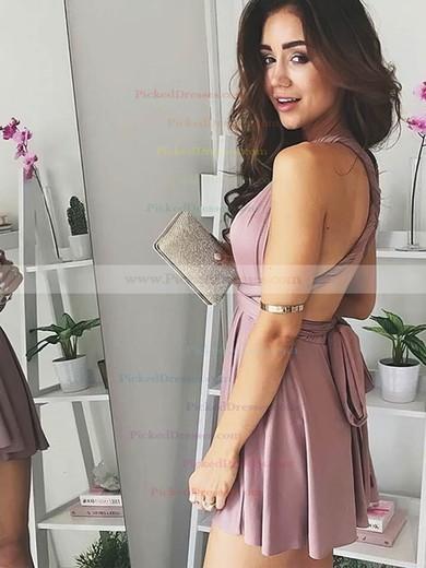 A-line V-neck Short/Mini Jersey Prom Dresses #PDS020106316
