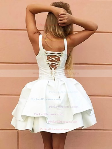 Ball Gown V-neck Short/Mini Satin Tiered Prom Dresses #PDS020106318