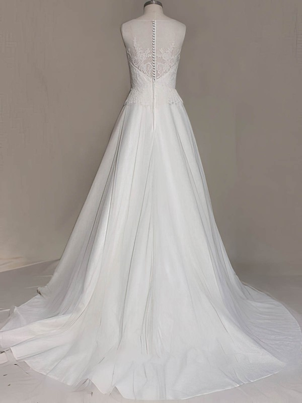 Elegant White Satin Tulle Scoop Neck Appliques Lace Sweep Train Wedding Dress