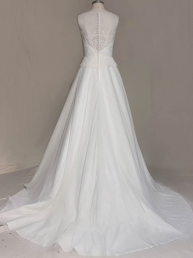 Elegant White Satin Tulle Scoop Neck Appliques Lace Sweep Train Wedding Dress #PDS00020535