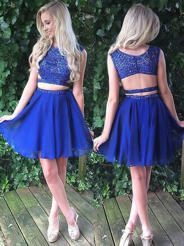 A-line Scoop Neck Short/Mini Chiffon Beading Prom Dresses #PDS020106319