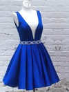 A-line V-neck Short/Mini Satin Beading Prom Dresses #PDS020106323