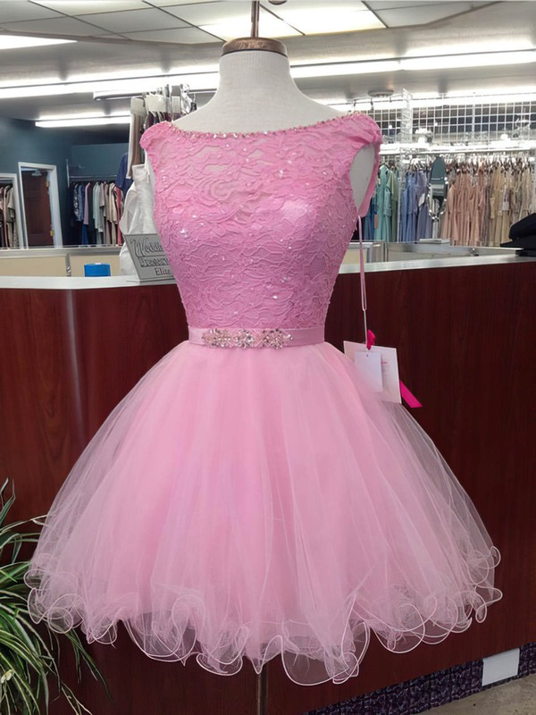 Ball Gown Scoop Neck Short/Mini Lace Tulle Beading Prom Dresses #PDS020106328