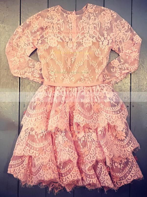 A-line Scoop Neck Short/Mini Lace Prom Dresses #PDS020106331