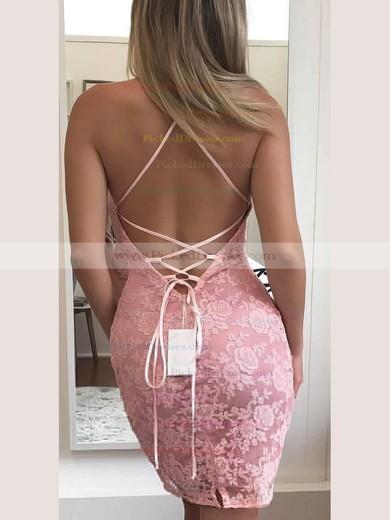 Sheath/Column Halter Short/Mini Lace Prom Dresses #PDS020106347