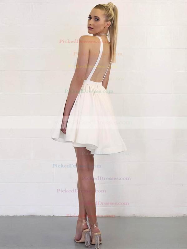 A-line V-neck Short/Mini White Prom Dresses #PDS020106353