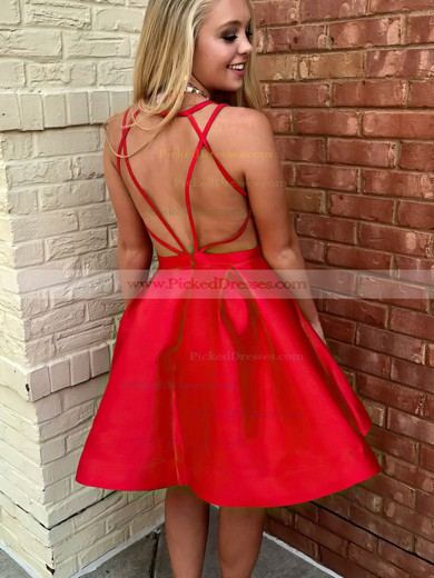Princess V-neck Short/Mini Satin Ruffles Prom Dresses #PDS020106366