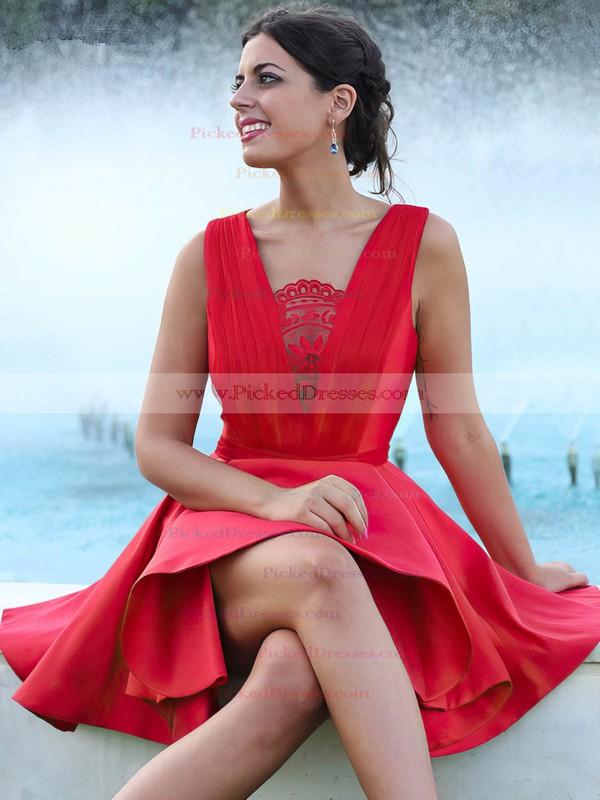 A-line V-neck Short/Mini Satin Ruffles Prom Dresses #PDS020106370