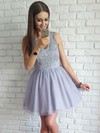 A-line Scoop Neck Short/Mini Tulle Appliques Lace Prom Dresses #PDS020106371