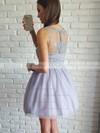 A-line Scoop Neck Short/Mini Tulle Appliques Lace Prom Dresses #PDS020106371