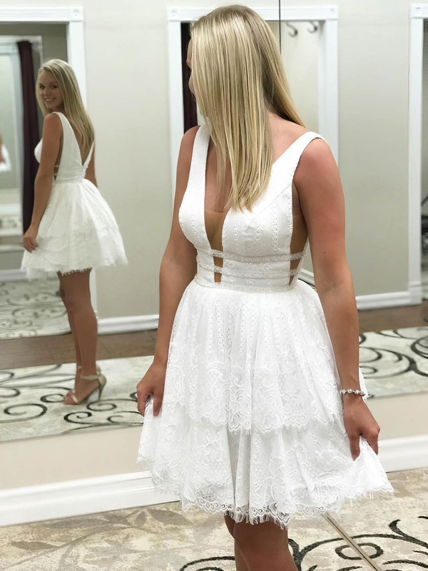 A-line V-neck Short/Mini Lace Tiered Prom Dresses #PDS020106373